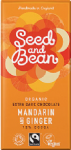 Seed & Bean Organic Mandarin & Ginger Dark Chocolate 85g